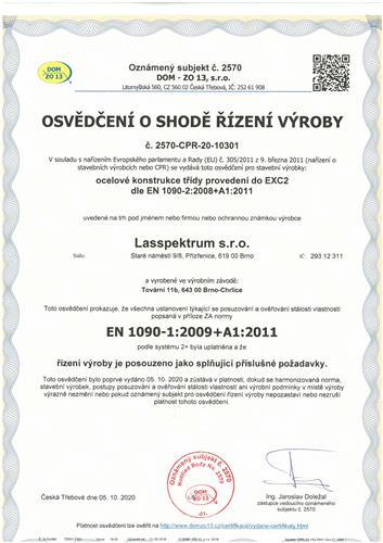 Certifikát ČSN EN ISO 9001:2016, ČSN EN ISO 3834-2:2006, EN1090-1:2009+A1:2011